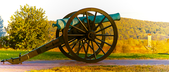 Canon at Visitor's Center, Autumn, Antietam National Battlefield
